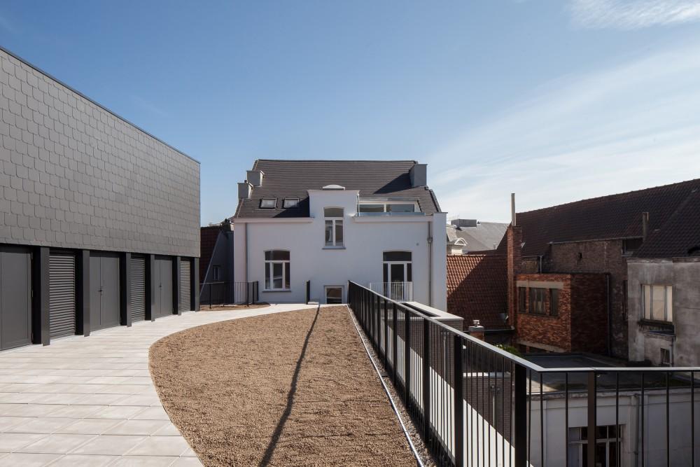 Abscis Architecten - Groendak en achtergevel appartementen St-Niklaasstraat – fotografie Thomas De Bruyne