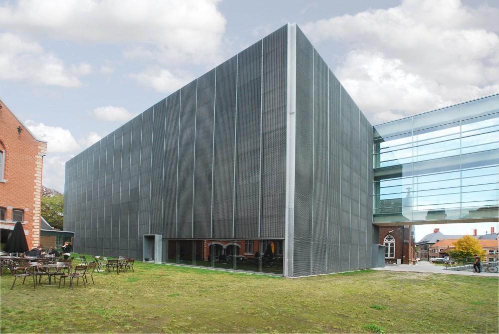 Abscis Architecten - Nieuwbouw KASK en glazen passerelle - zicht vanaf terras KASKcafé – fotografie Abscis Architecten