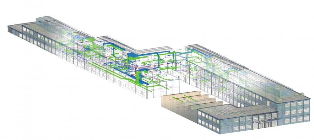Abscis Architecten - isometrie van het BIM-model dat een extreem kort en efficiënt bouwproces faciliteert - visualisatie Abscis Architecten