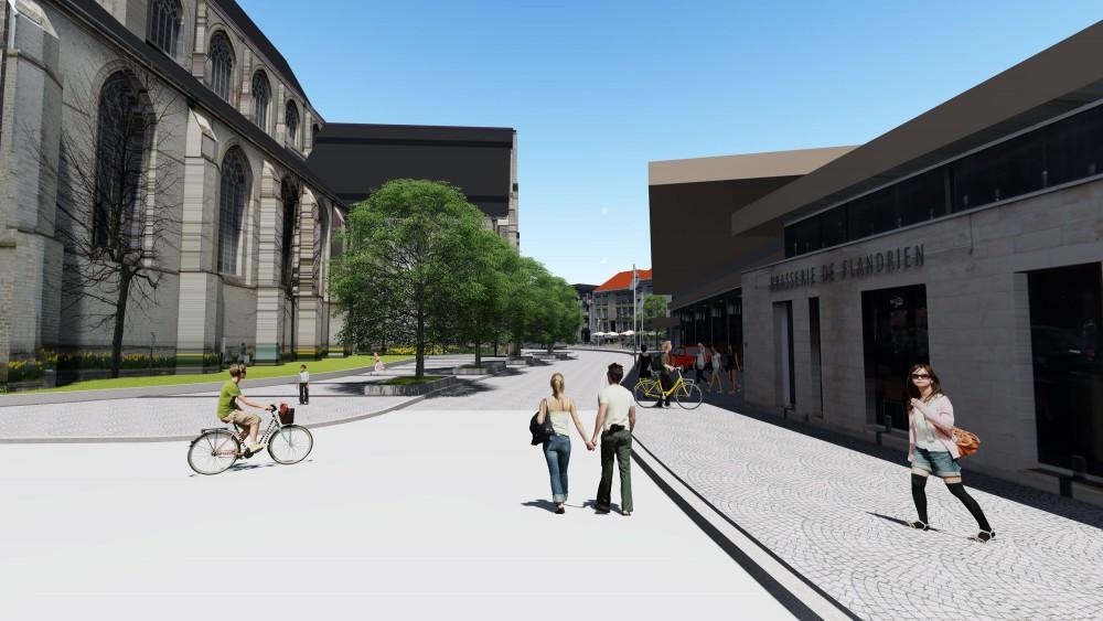 Abscis Architecten - Herinrichting Markt Oudenaarde - visualisatie Fabrice Moonen