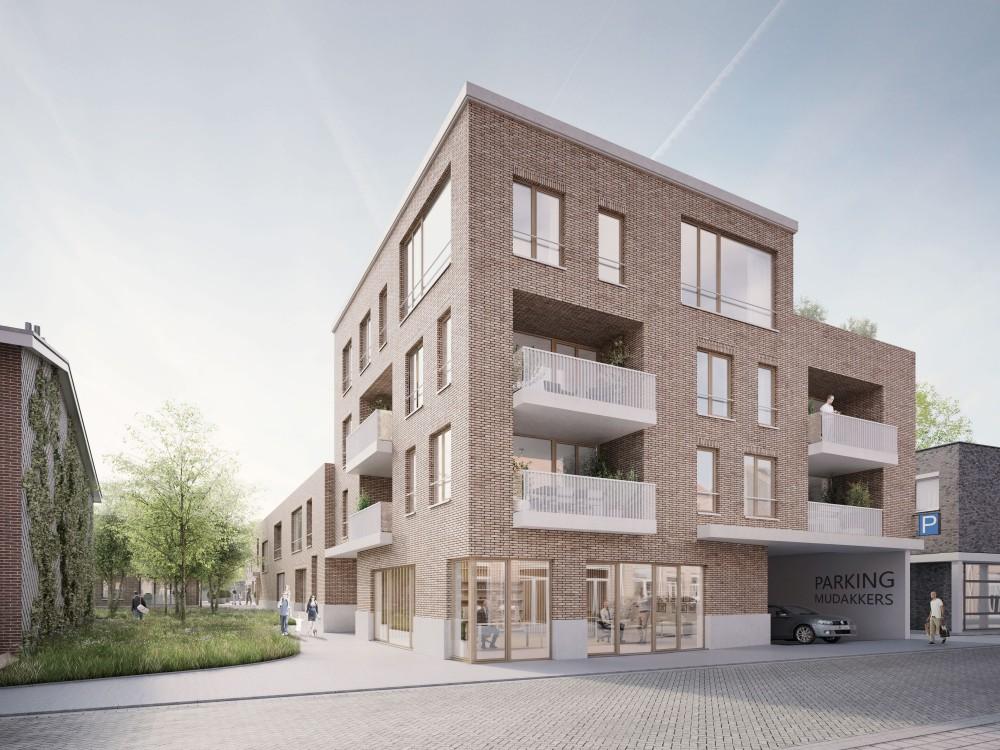 Abscis Architecten - ingang ondergrondse parking en glimp binnengebied - visualisatie Infunctievan