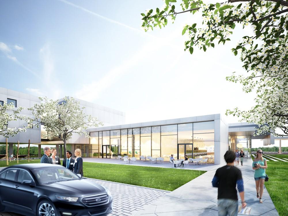 Abscis Architecten -  De centrale inplanting van het dienstgebouw zorgt voor een duidelijke oriëntatie - visualisatie Abscis Architecten