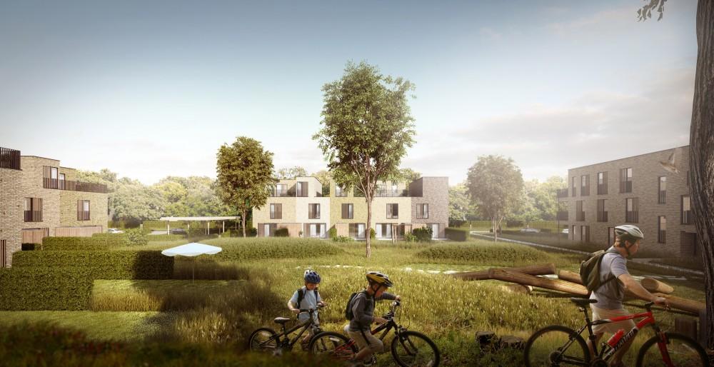 Abscis Architecten - render omarmde binnengebied