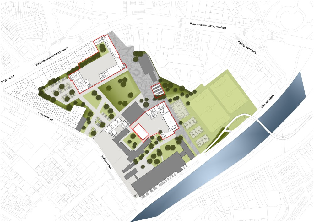 Abscis Architecten - inplantingsplan Guldensporencollege - Abscis Architecten