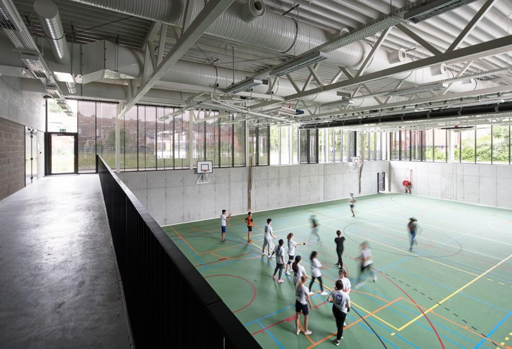 Abscis Architecten - half verzonken sportzaal - fotografie Dennis De Smet
