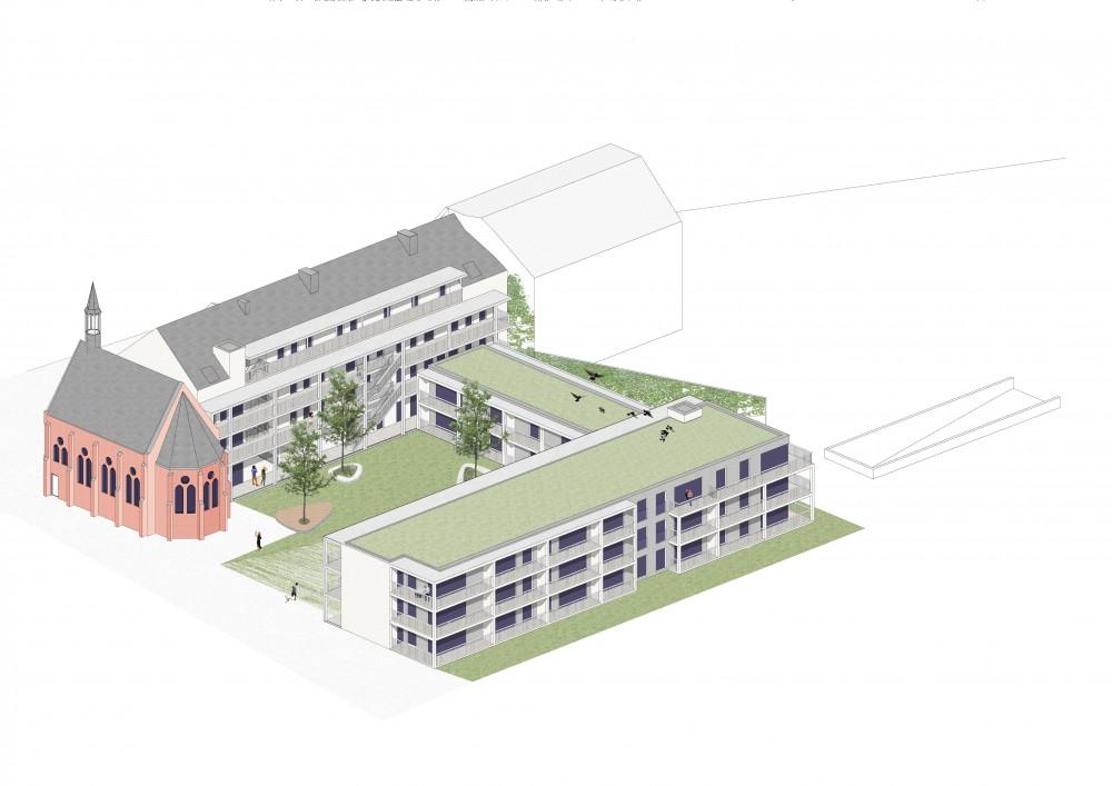 Abscis Architecten - visualisatie sociale woningen en herbestemd klooster met kapel - Abscis Architecten