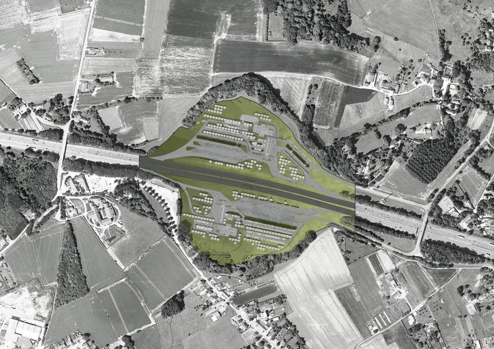 Abscis Architecten - Inplanting nieuw servicestation langs E40 in Groot-Bijgaarden