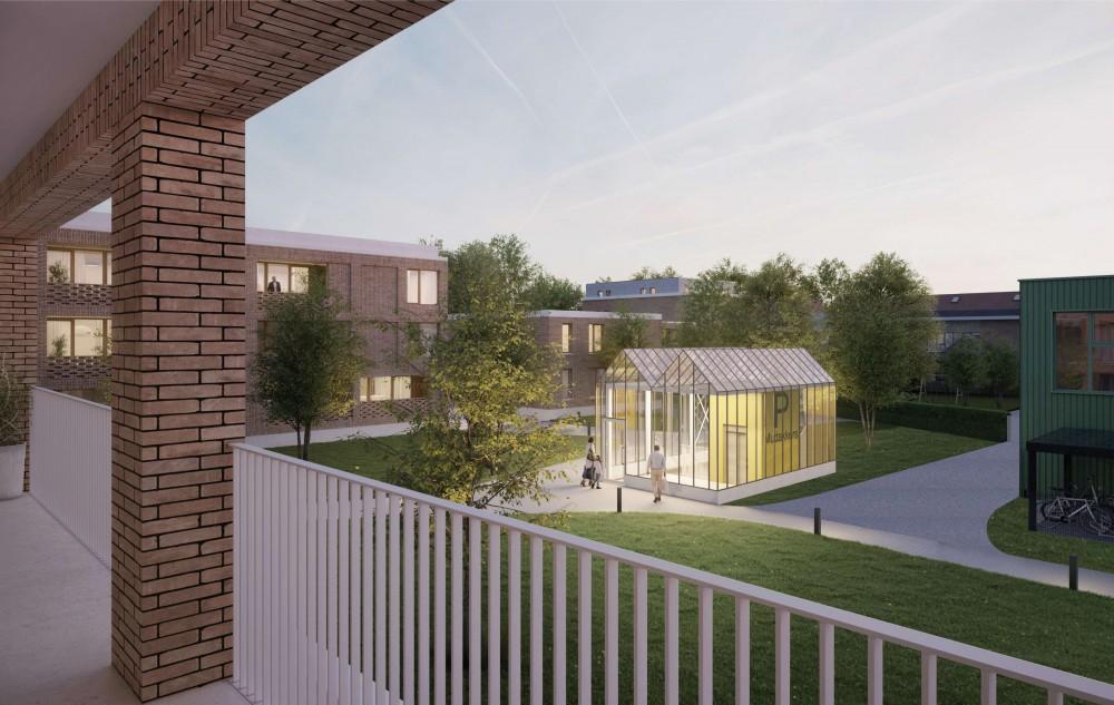 Abscis Architecten - zicht op tuin - visualisatie Infunctievan