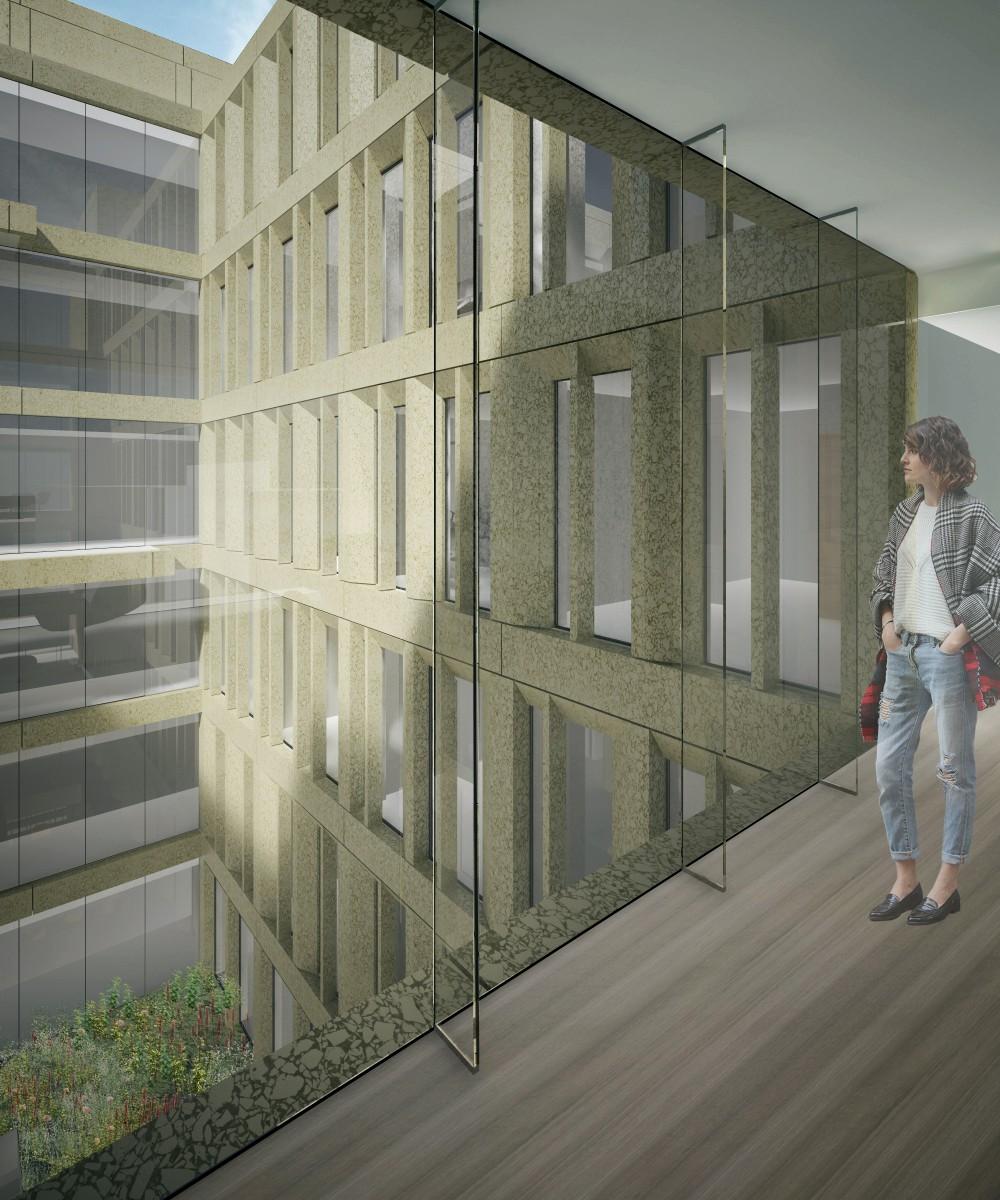 Abscis Architecten - Visualisatie zicht op binnengebied