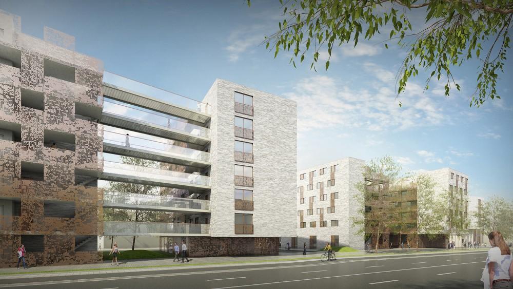 Abscis Architecten - Zicht vanop de Triomflaan – visualisatie Abscis Architecten