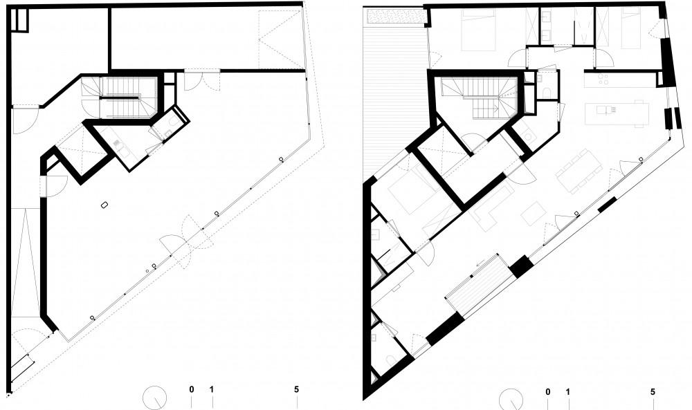 Abscis Architecten - plan gelijkvloers met handelsruimte & plan verdieping - Abscis Architecten