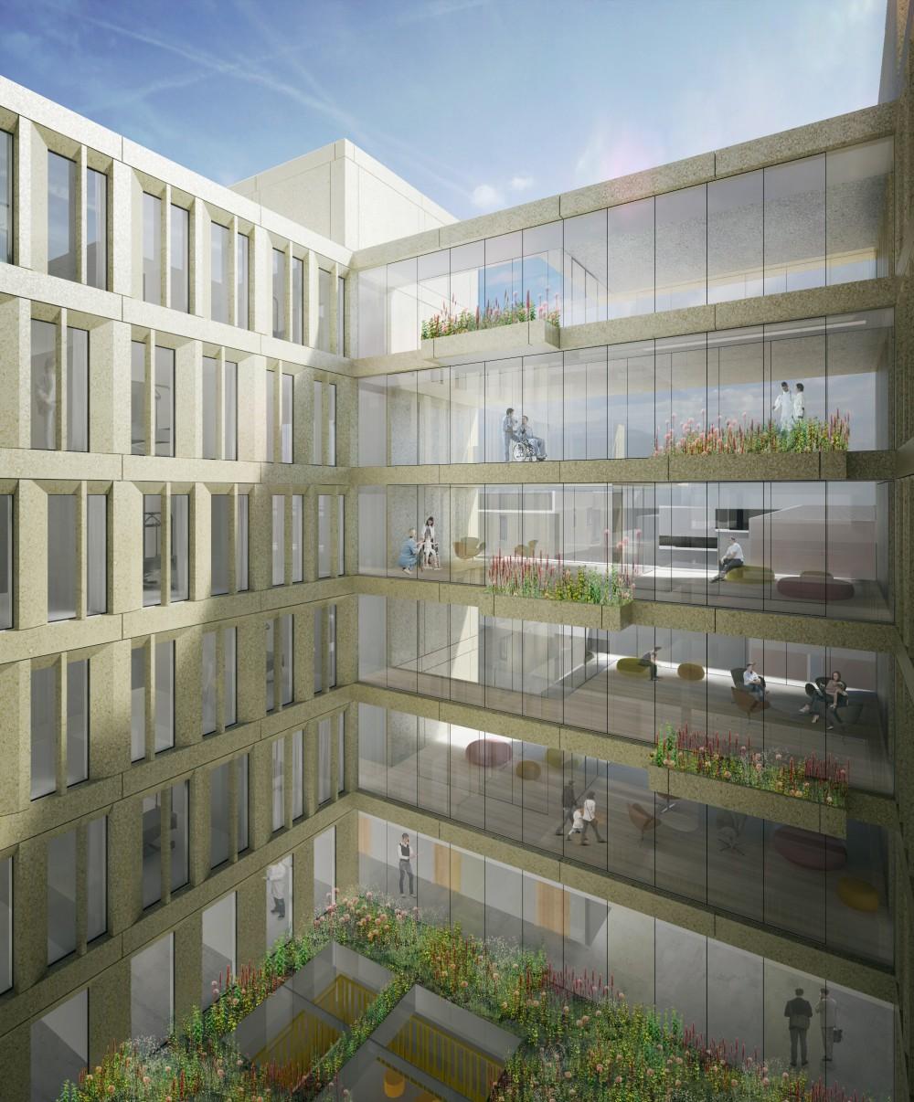 Abscis Architecten - Visualisatie uitkragende vloerniveaus