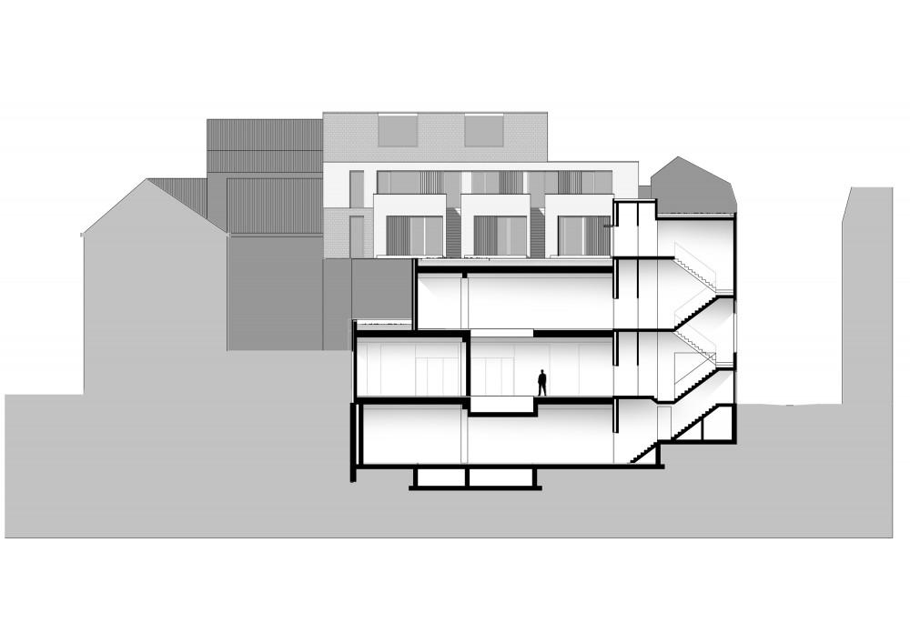 Abscis Architecten - Doorsnede door daktuin en winkelruimtes – Abscis Architecten