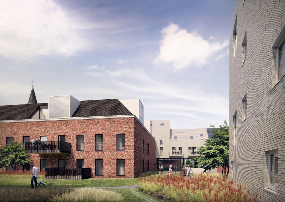 Abscis Architecten - Zicht op Sint-Theresia en inkomgeheel - visualisatie Indeed Studio