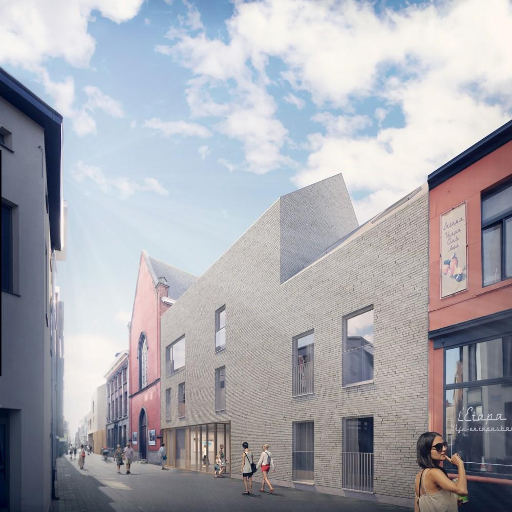 Abscis Architecten - Zicht vanuit de Louis D'haeseleerstraat - visualisatie  Indeed Studio