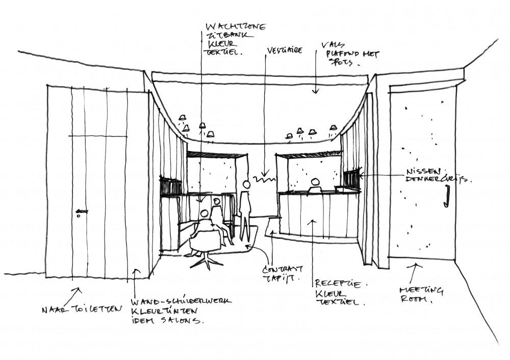 Abscis Architecten - perspectief wachtzone met inkombalie