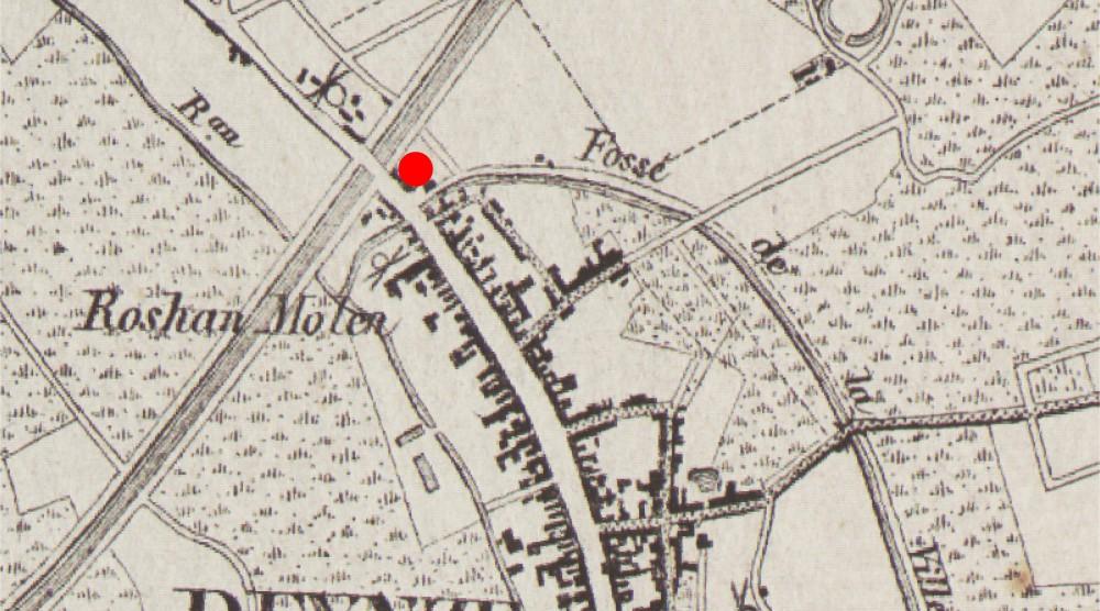 Abscis Architecten - Ligging tussen Fossé de la ville, Markt en kanaal; Vandermaelen kaart 1846-1854
