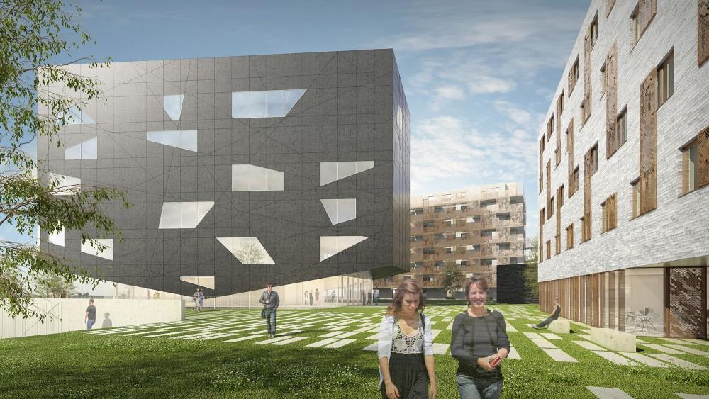 Abscis Architecten - Scharnier tussen wonen en leren – visualisatie Abscis Architecten