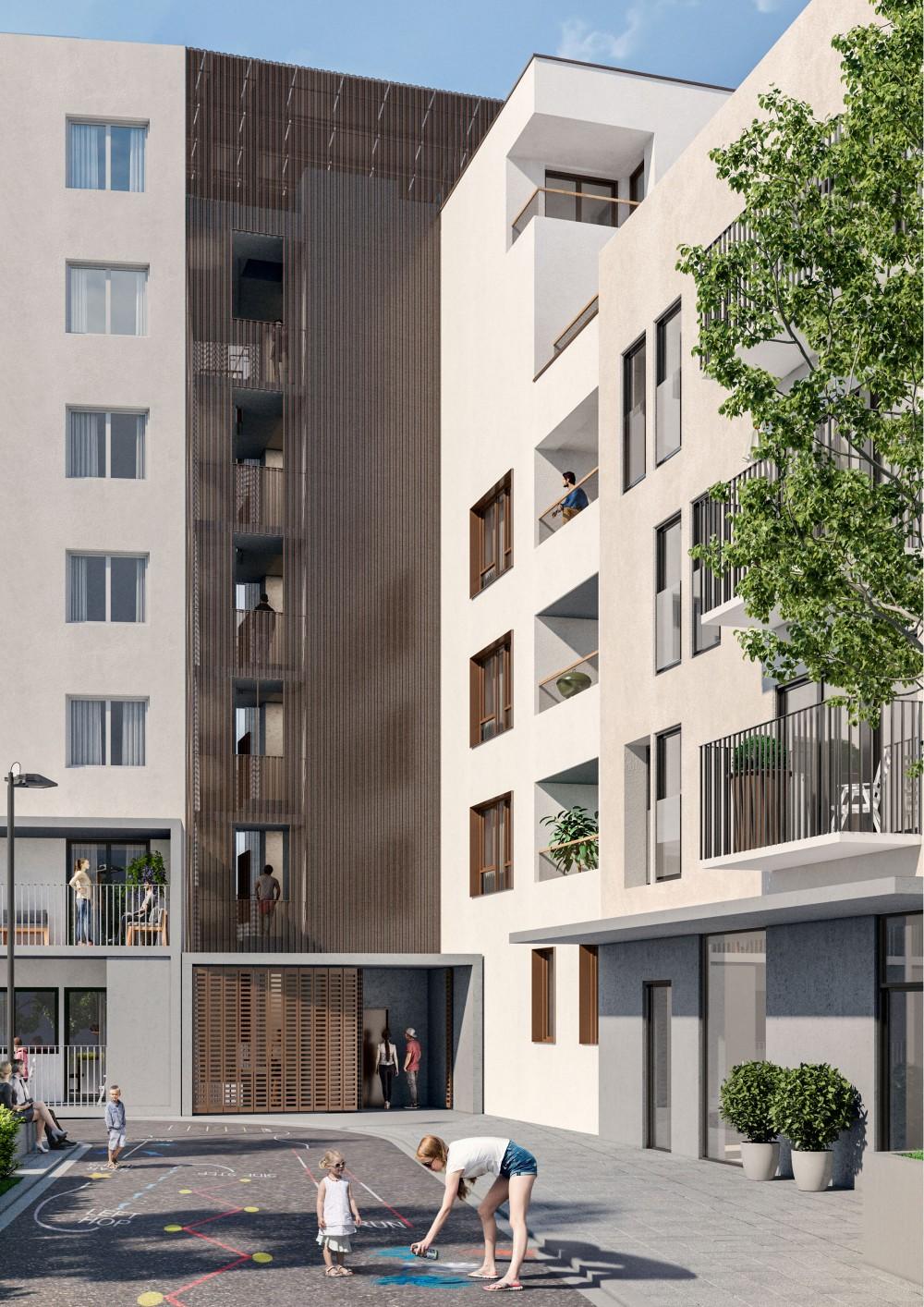 Abscis Architecten - Zicht vanaf plein - visualisatie Team HENK