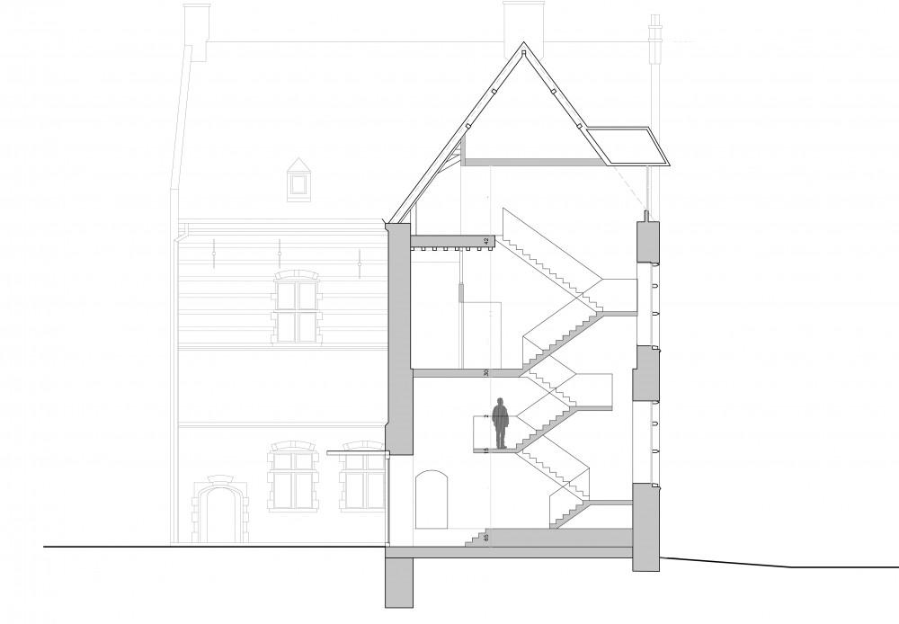 Abscis Architecten - snede met trap en lift