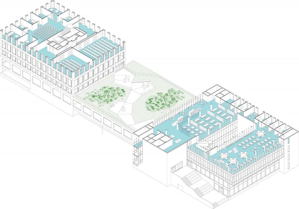 Abscis Architecten - axonometrie vierde laag met zicht op daktuin van de eerste verdieping
