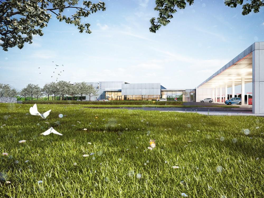 Abscis Architecten - Zicht op luifel en hotel - visualisatie Abscis Architecten