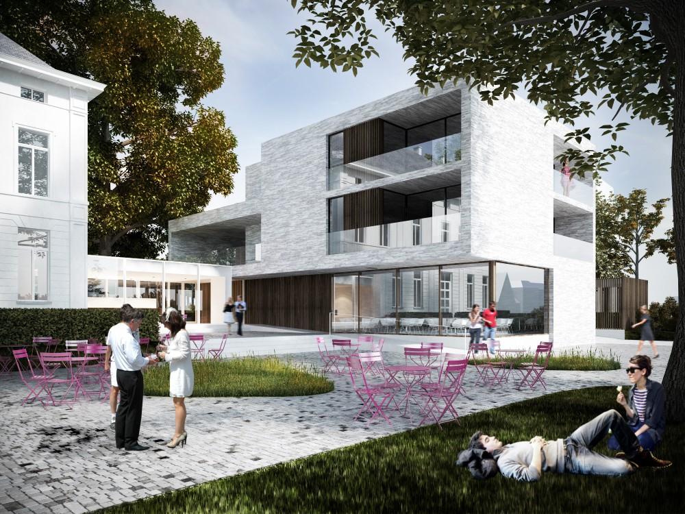 Abscis Architecten - Via een centrale 'hub' worden een aantal diensten gefaciliteerd – visualisatie Abscis Architecten