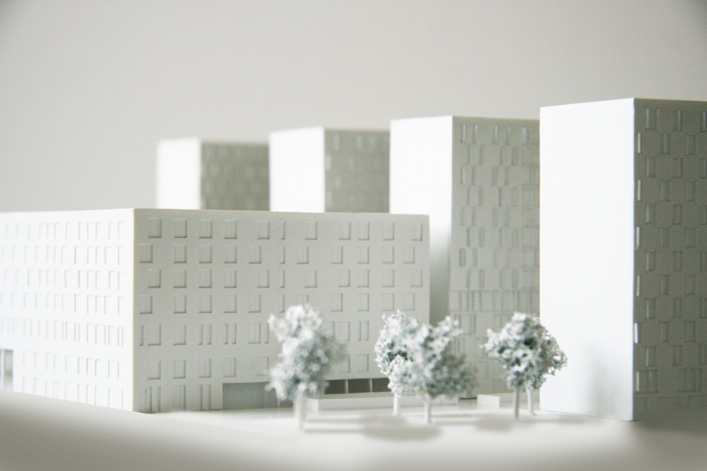 Abscis Architecten - model with Maison des Sciences Humaines and residential towers