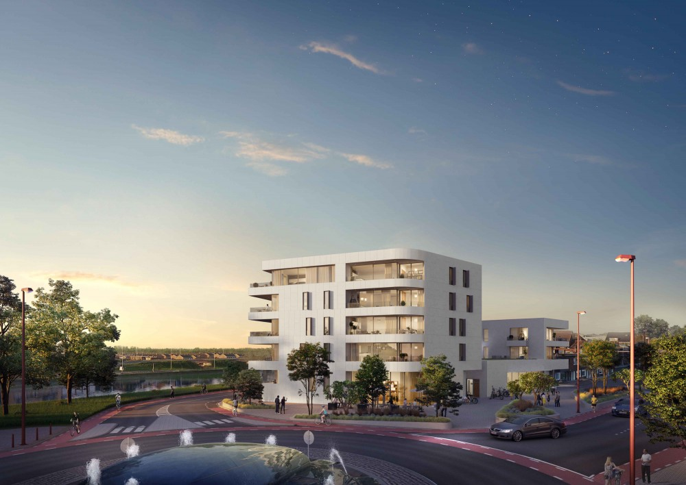 Abscis Architecten - zicht vanop de markt - visualisatie Landbergh