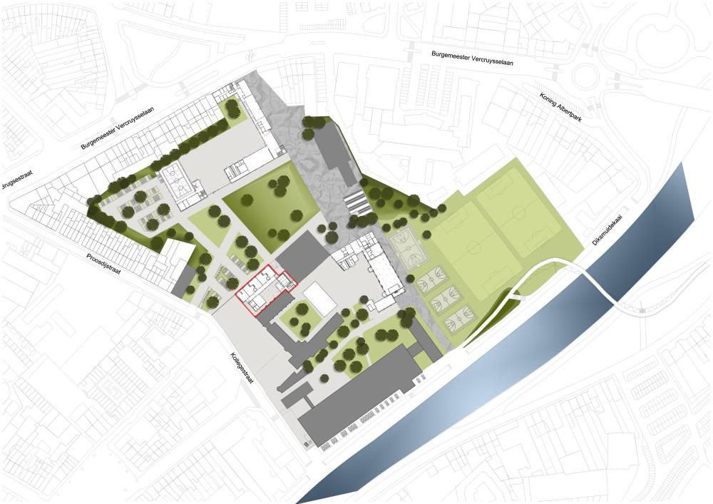 Abscis Architecten - inplantingsplan kleuterschool op campus Kaai - Abscis Architecten