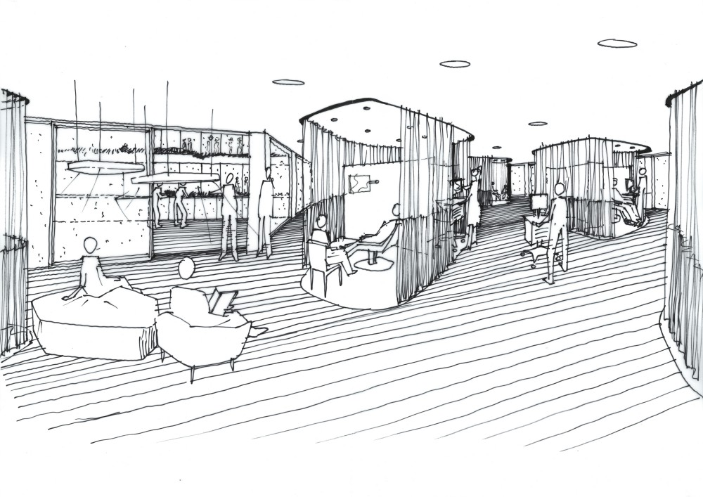 Abscis Architecten - Schets zorgeilanden oncologie