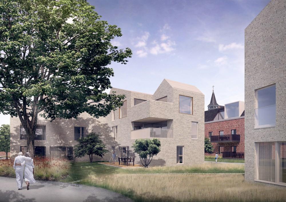 Abscis Architecten - Woonblok in de kloostertuin - visualisatie  Indeed Studio