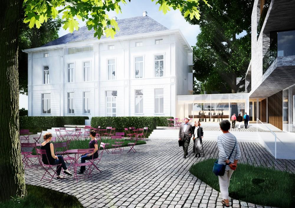 Abscis Architecten - De site wordt doorkruist door een centrale overdekte circulatie-as die uitnodigt tot wandelen, rusten, ontmoeten,... (de 'rode loper) – visualisatie Abscis Architecten