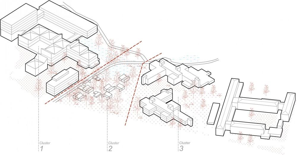 Abscis Architecten - schema axonometrie clusters 1-2-3