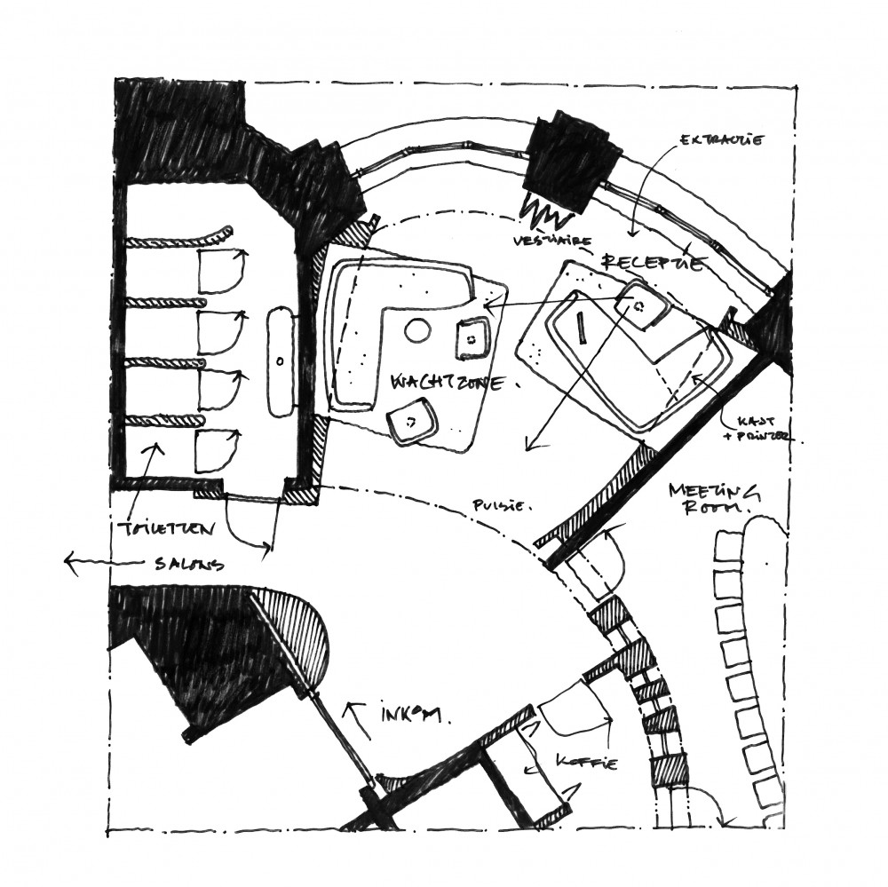 Abscis Architecten - overview wachtzone met inkombalie