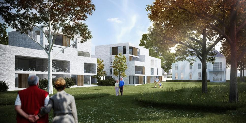 Abscis Architecten - Alle assistentiewoningen hebben een terras gericht op de parktuin – visualisatie Abscis Architecten