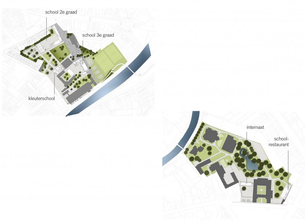 Abscis Architecten - Overzicht masterplan scholencampus Kortrijk