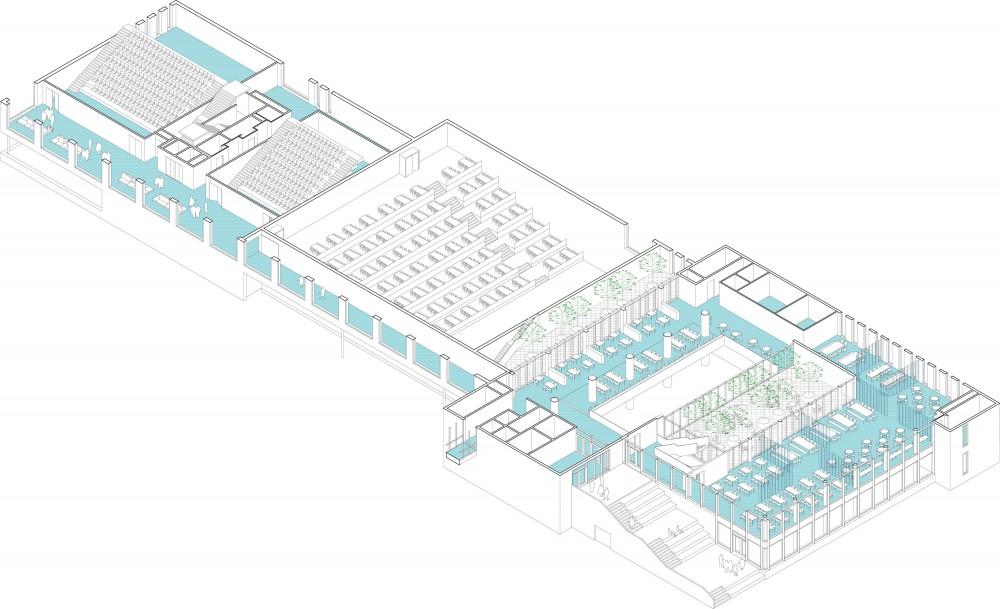 Abscis Architecten - axonometrie eerste verdieping met zicht op auditoria