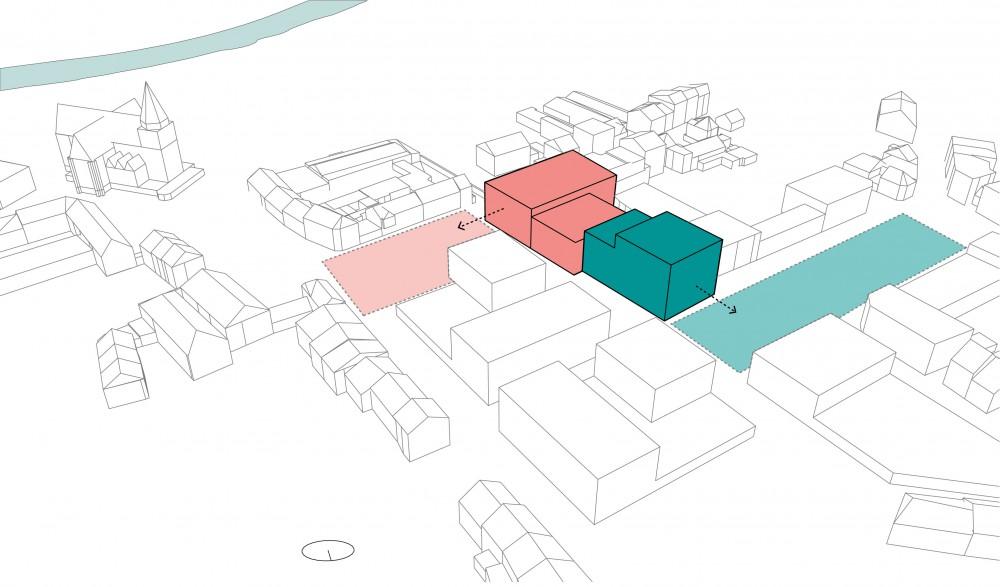 Abscis Architecten - een eigen inkom en gezicht op straat voor de 2 afzonderlijke programma's