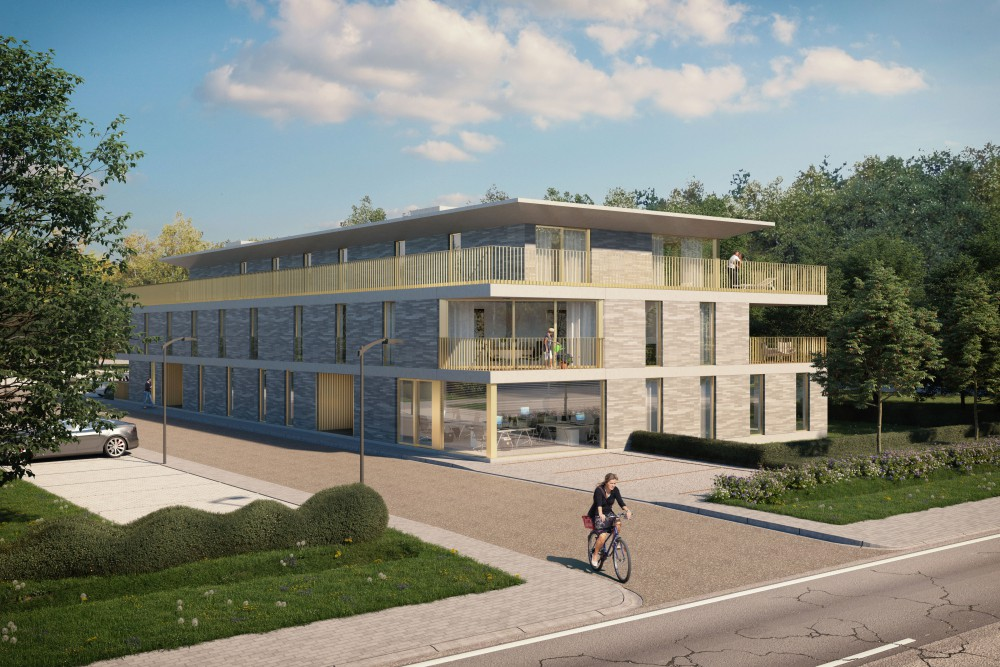 Abscis Architecten - Ankersmit - zicht vanop de straat - visualisatie Nanopixel