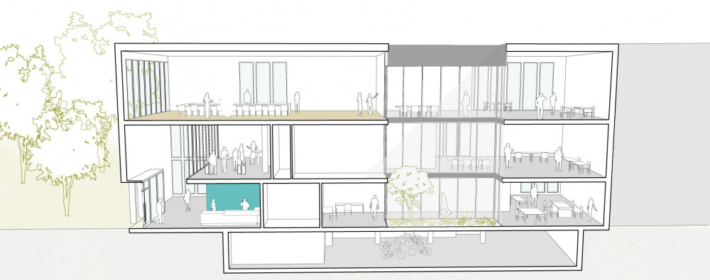 Abscis Architecten - snede administratief centrum