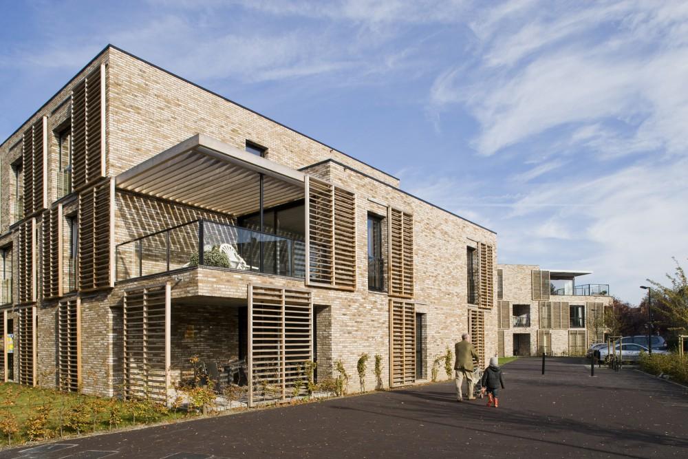 Abscis Architecten - Gestapelde woonvolumes geënt op de centrale wandelas –  fotografie Studio Claerhout