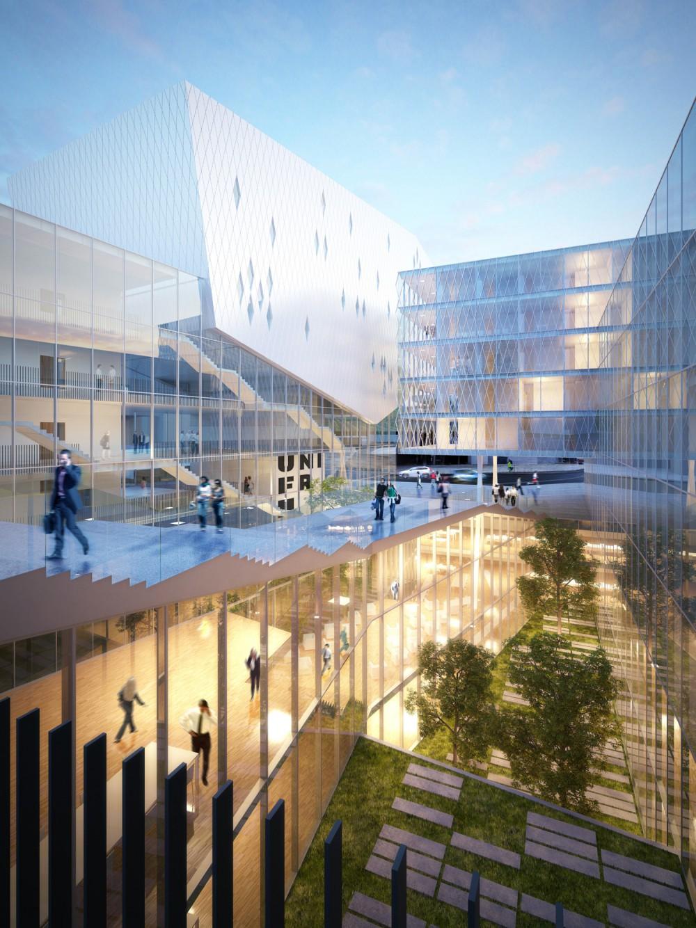 Abscis Architecten - Zicht op de binnenpatio – visualisatie Abscis Architecten