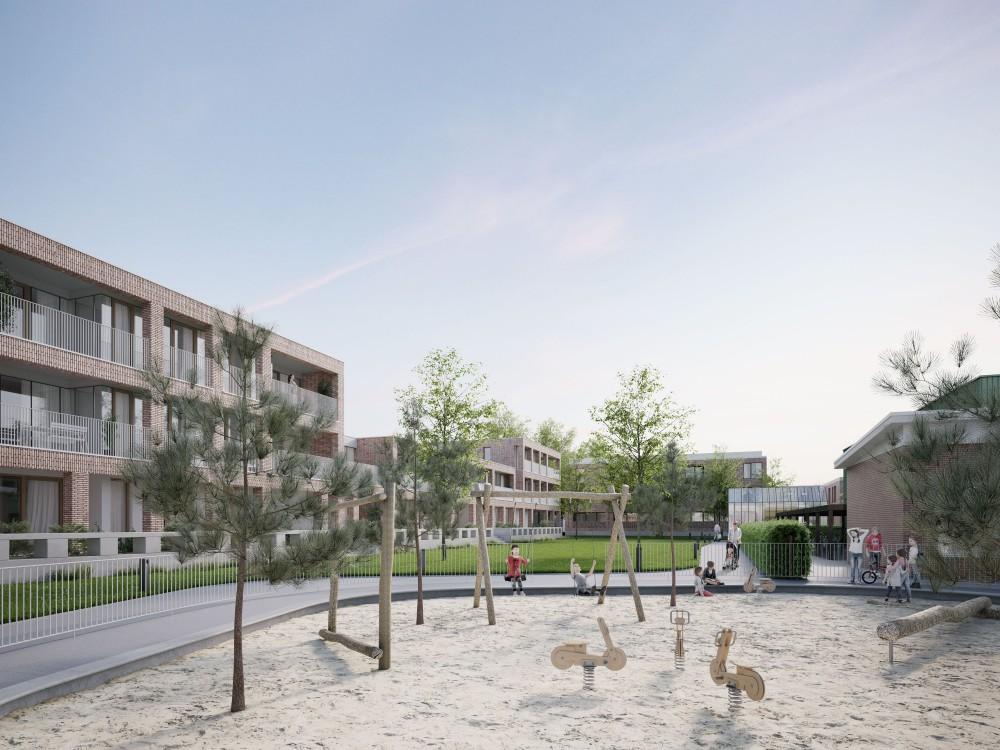 Abscis Architecten - speelplaats school gelinkt aan parkhof - visualisatie Infunctievan
