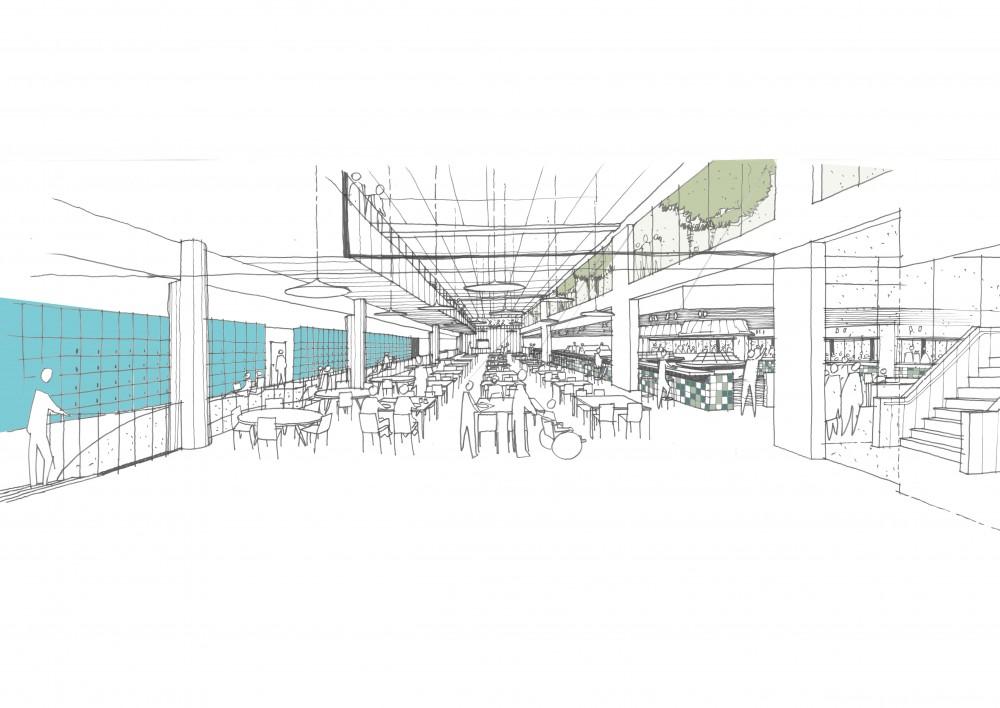 Abscis Architecten - schets restaurant