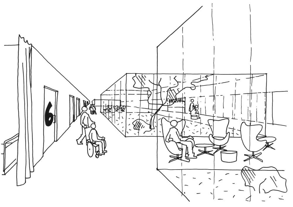 Abscis Architecten - Schets patio dienst radiologie
