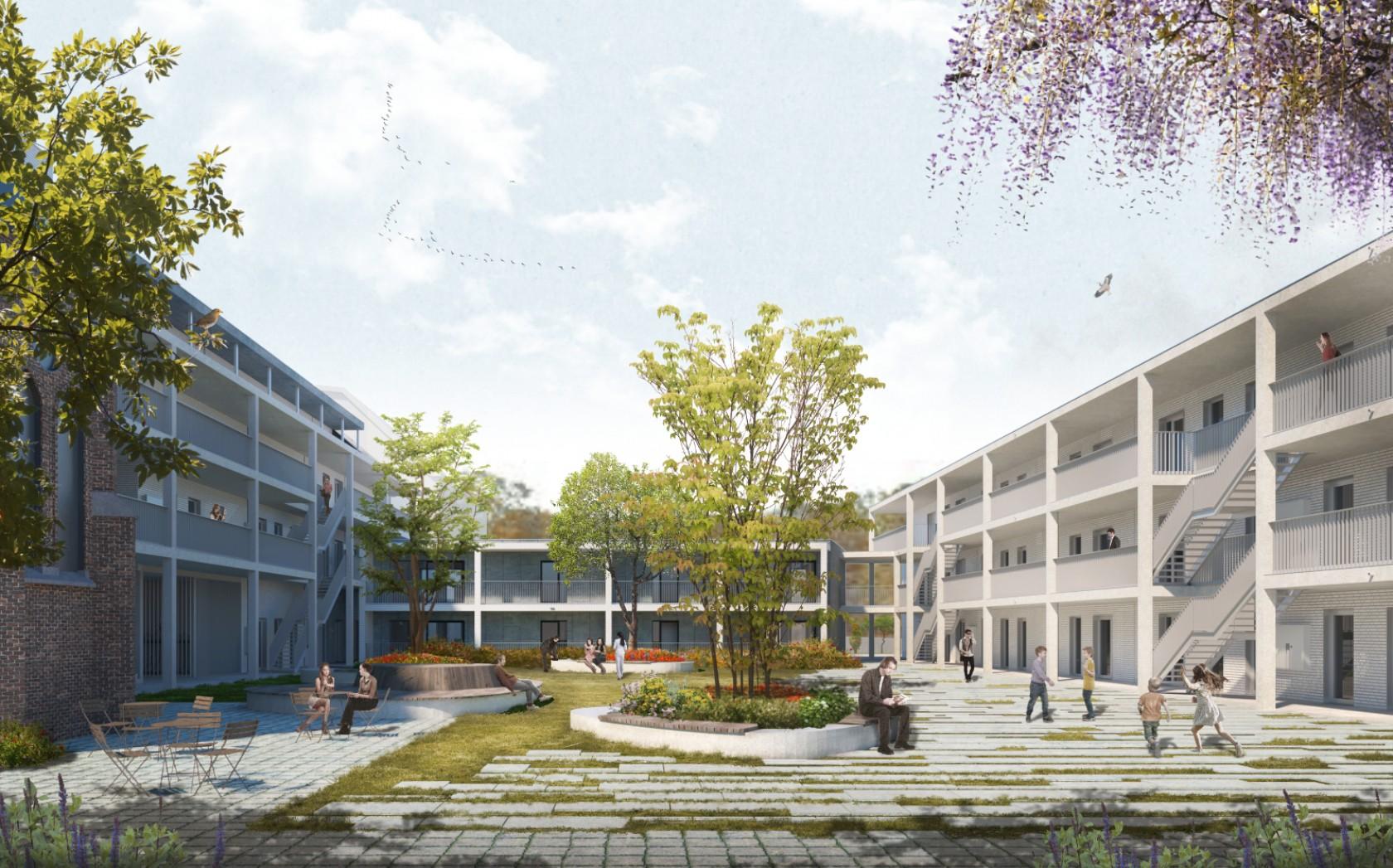 Abscis Architecten - visualisatie binnenplein - Abscis Architecten