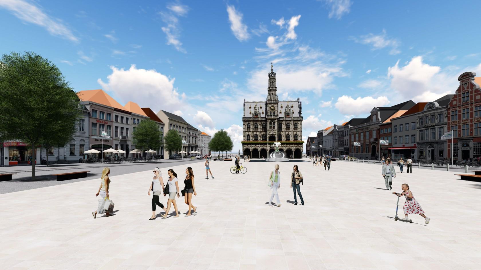Abscis Architecten - Plein in natuursteen uit Comblanchien (FR) - visualisatie Fabrice Moonen