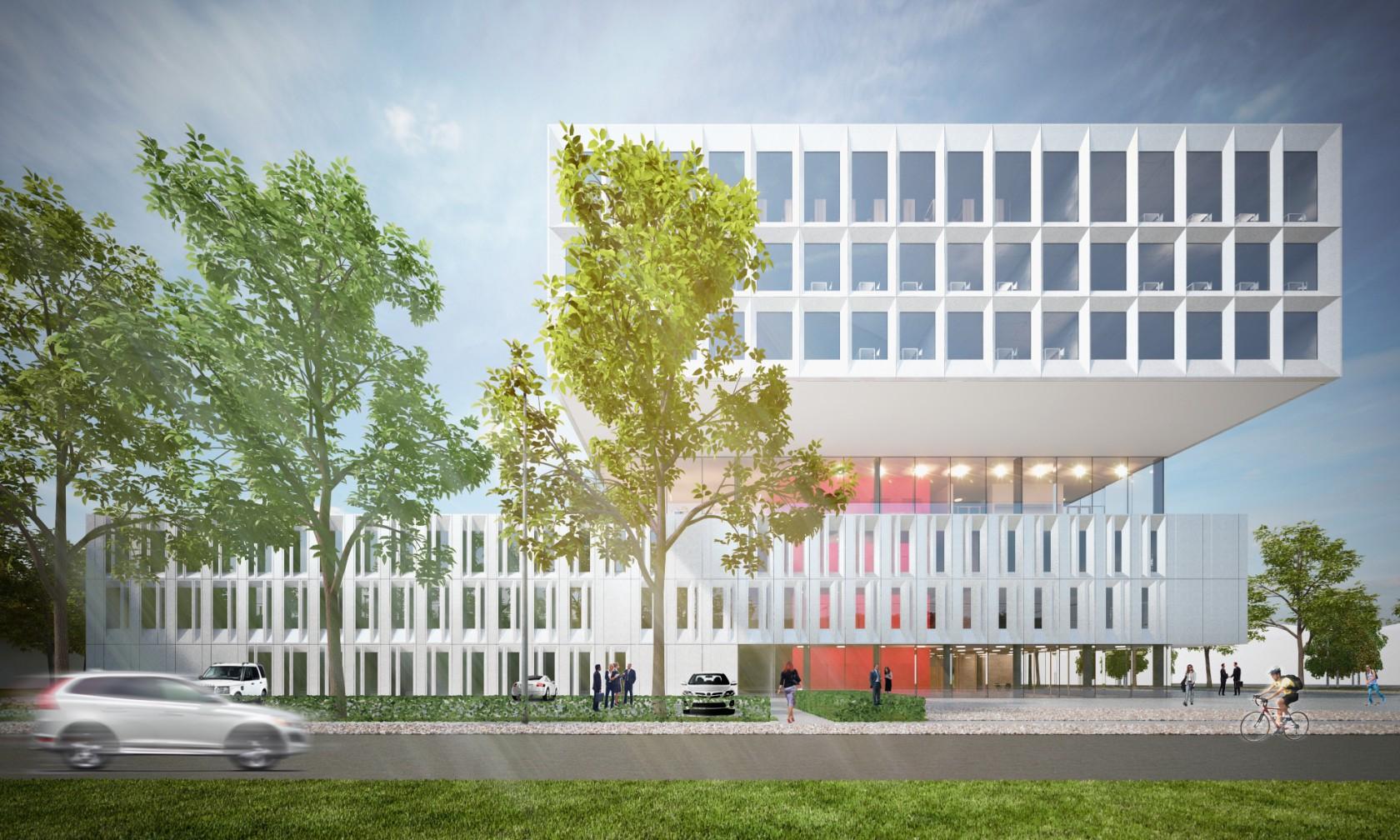 Abscis Architecten - Het uitkragende volume omvat de leslokalen - de labo's zitten in de sokkel – visualisatie Abscis Architecten