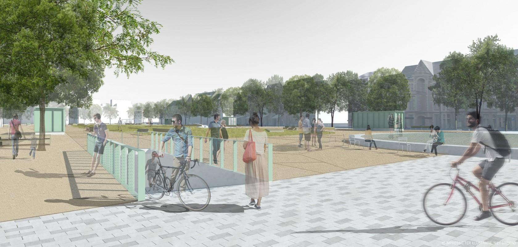 Abscis Architecten - fietserstoegang - visualisatie Abscis Architecten